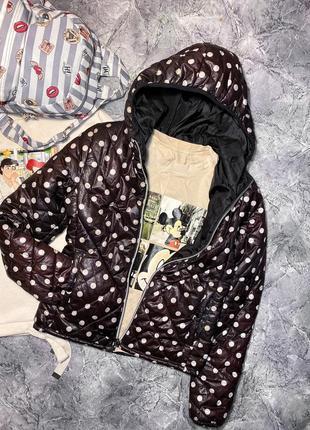 Куртка дутик в горошек