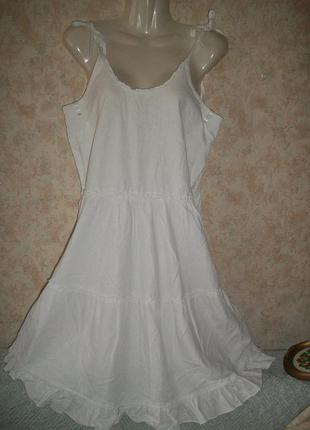 Льняное платье туника сарафан белый с оборками размер 12