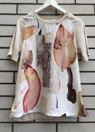 Атласная комбинированная футболка с принтом zara