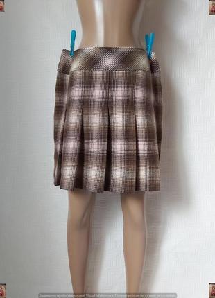 Новая esprit мега теплая мини юбка плиссе на 70 % шерсть в клетку, размер хл