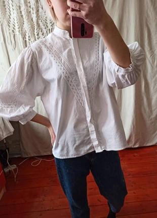 Продана белая винтажная блуза рубашка