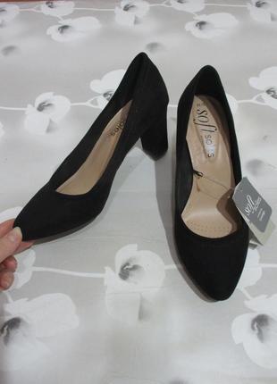 Классические туфли лодочки/широкий каблук/под замш