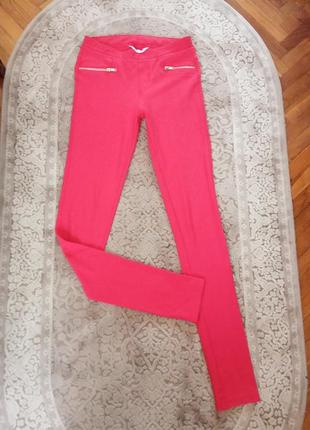 Червоні трегінси легінси брюки штани h&m красные треггинсы леггинсы штаны s-xs