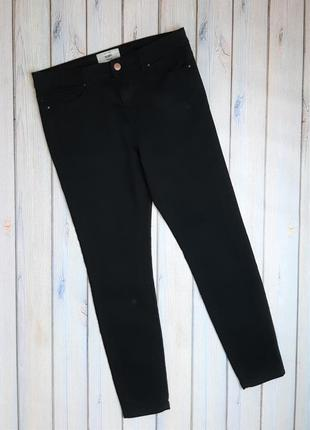 💥1+1=3 фирменные черные зауженные узкие джинсы скинни new look, размер 48 - 50