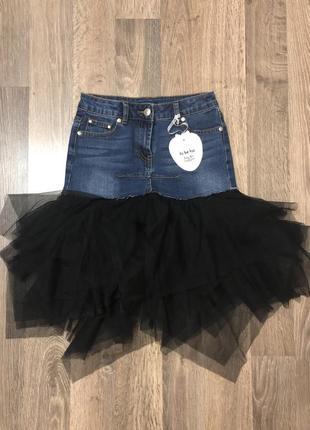 Джинсовая юбка с фатином