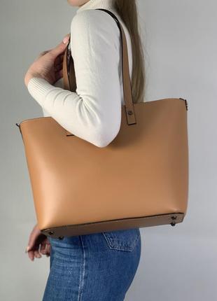 Женская кожаная сумочка шопер италия карамель