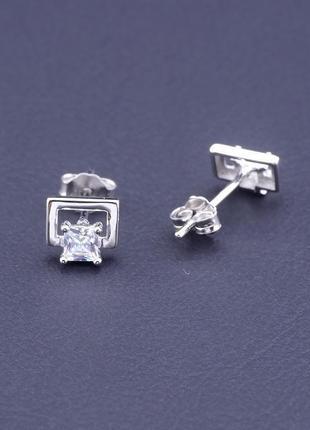 Серьги фианит серебро(925) 6х5 0782830,