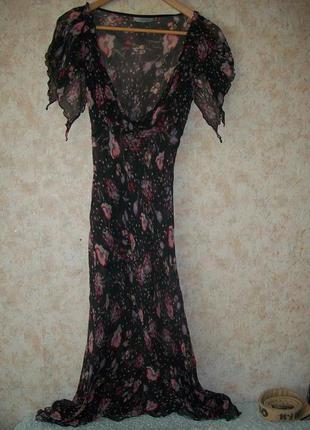 Трендовое платье туника \сарафан\прозрачное пляжное в цветы 100% шёлк