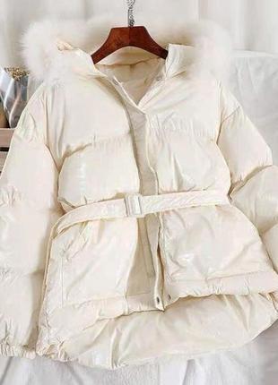 Куртка-пуховик шикарна,модна на пояску ♥️