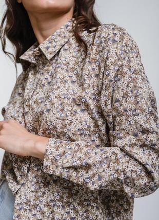Рубашка, блуза бежевая в цветочный принт