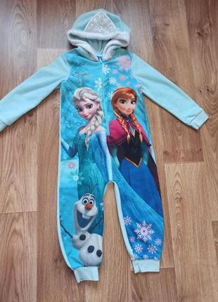 Флисовая пижама кигуруми слип анна и ельза холодное сердце рост 92-98