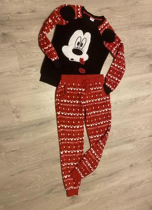 Клевая пижама домашний костюм меховушный флюс с микимаусами