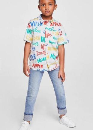 Стильная летняя рубашка для мальчика mango с короткими рукавами.