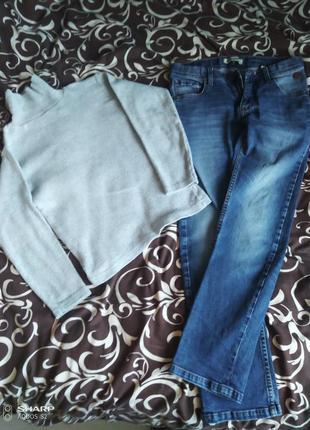 Комплект гольф и джинсы 134-140