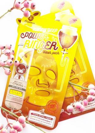 Тканевая маска для лица elizavecca honey deep power ringer mask pack