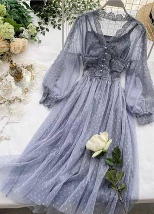 Невероятно красивые гипюровые платья в горошек со вставками кружева😍