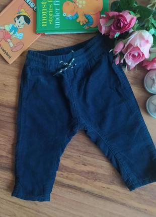 Классные вельветовые штаны, брючки h&m на 4-6 месяцев.