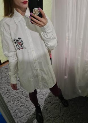 Шикарная белая, біла хлопковая рубашка, сорочка оверсайз с мужского плеча