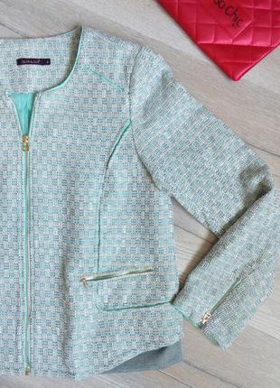 Color block, м'ятний піджак у стилі шанель + подарунок на вибір, р.14-16