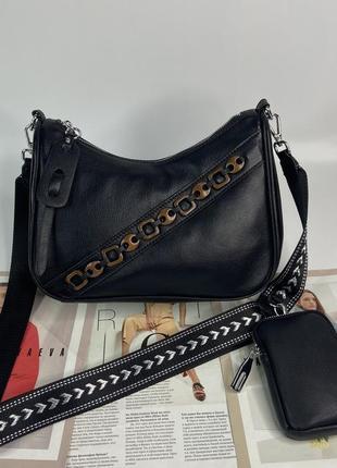 Женская кожаная сумка кросс-боди через плечо чёрная polina & eiterou жіноча шкіряна