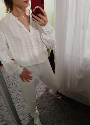 Шикарная белая, біла хлопковая рубашка, сорочка оверсайз от cos