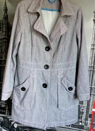 Ms moda, трендовий плащ тренч, легке котонове пальто в дрібну смужку