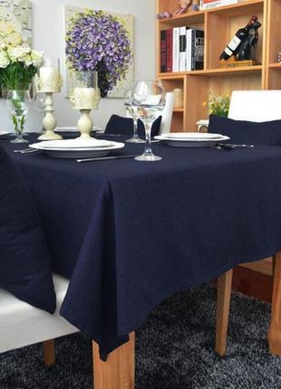 Красивая нарядная скатерть на стол, сапфирового (темно-синего) цвета