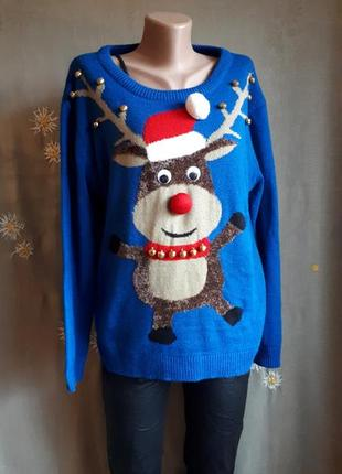 Свитер теплый зимний рождественский новогодний прикольный с оленем овер / обмен/распродажа