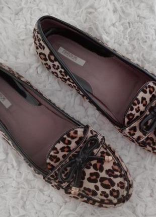 Леопардовые кожаные туфли мокасины geox р. 38