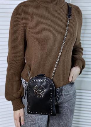 Женская кожаная сумка кросс-боди через плечо клатч чёрная жіноча шкіряна