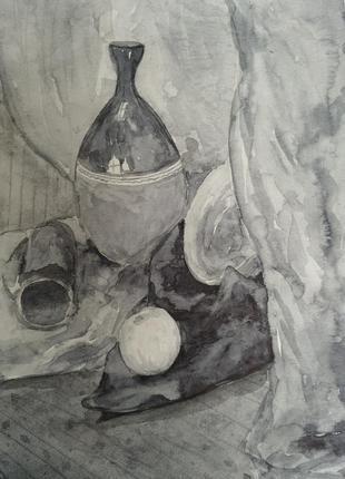 Картина авторская акварель черно белая натюрморт