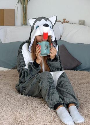 Пижама-комбинезон кигуруми собака хаски - детские взрослые размеры - кенгуруми - кугуруми