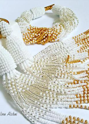 Комплект серьги оскар и браслет из бисера