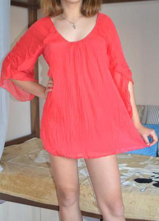 Шикарная шелковая красная  туника платье можно на пляж s / 36