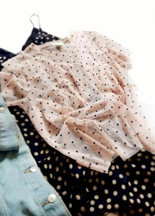 Сеточка сетка горох под майку тренд актуальная футболка блуза блузка