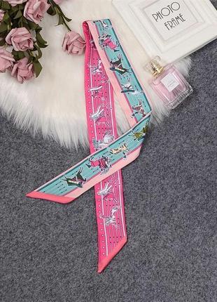 Длинный узкий шарф-галстук лента шарф-колье, шарф-чокер модный двусторонний твилли лошади