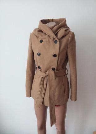 Двобортне пальто кемел шикарної якості шерсть zara оригінал затишний великий капішон