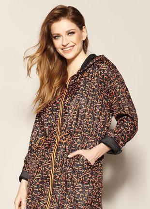 Куртка-парка болоньевая с капюшоном узором женская весенняя летняя zaps elidia 004 черная