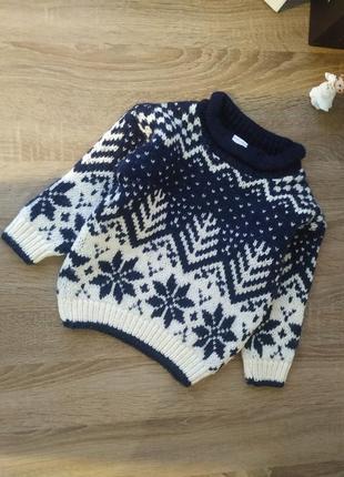 Теплый вязаный свитер на 2-3 года