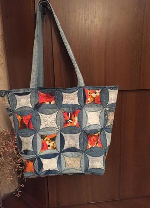 Hand made  стильная сумка из джинс по технологии пэчворк