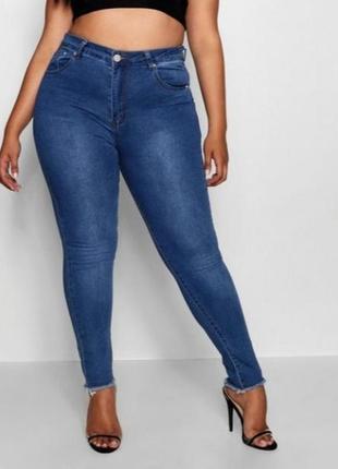 Синие джинсы скинни джеггинсы высокая талия посадка батал большой размер стрейч