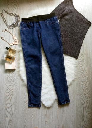 Синие джинсы джеггинсы с резинкой скинни американки варенки укороченные капри беременным