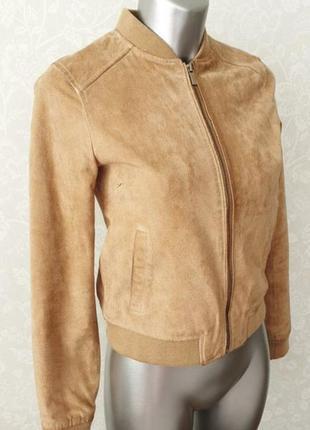 Куртка бомбер замшевая stradivarius (натуральная кожа)