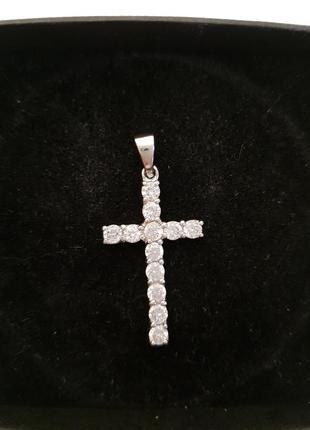 Крестик серебро 925 проба италия