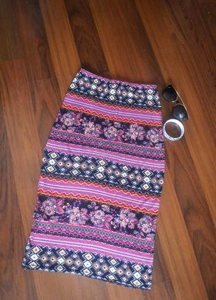 Юбка миди с принтом  new look ,длинная юбка