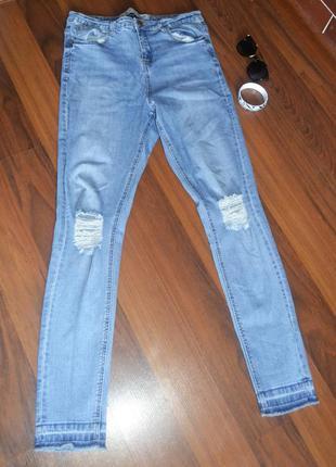 Стильные скинни джинсы с высокой посадкой.джинсы ,джеггинсы, рваные