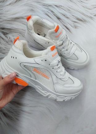 Белые кроссовки с неоновыми вставками 35-39 рр