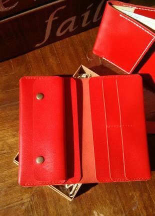 Портмоне кошелек гаманець тревелкейс из натуральной кожи. красный. ручная работа