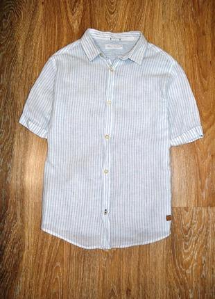 Стильная льняная рубашка в полоску мальчику zara