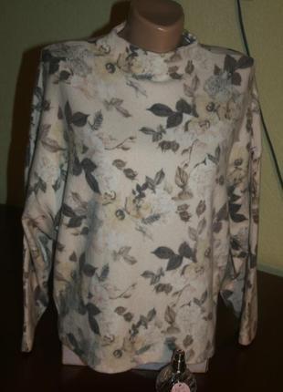 Нежно-розовый свитер из ангоры с цветочным принтом
